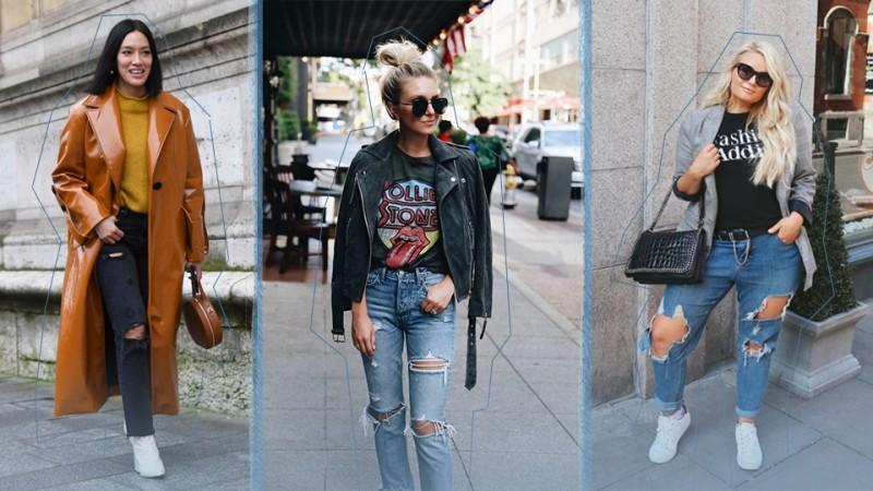 Idei de tinute cu jeansi rupti